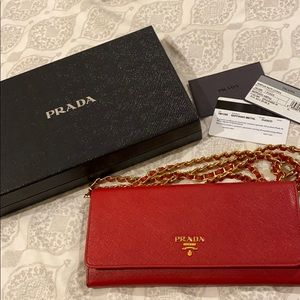 Authentic red Prada wallet on chain / crossbody